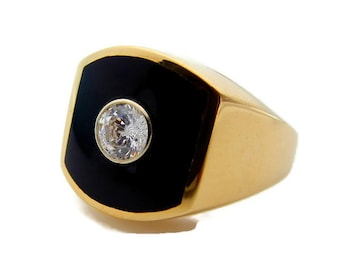 14K Yellow Gold Onyx Diamond Ring - Black and Gold Unisex Ring - Size 9 - 0.45 ct H Color - Wedding Engagement - Heavy Diamond Ring # 4659