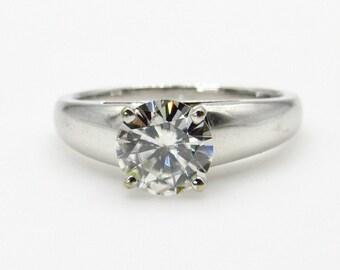 14K White Gold Round Synthetic Moissanite Ring - Size 6 1/4 - 2 ct - Diamond Simulant - Engagement, Wedding, Promise Ring # 1334
