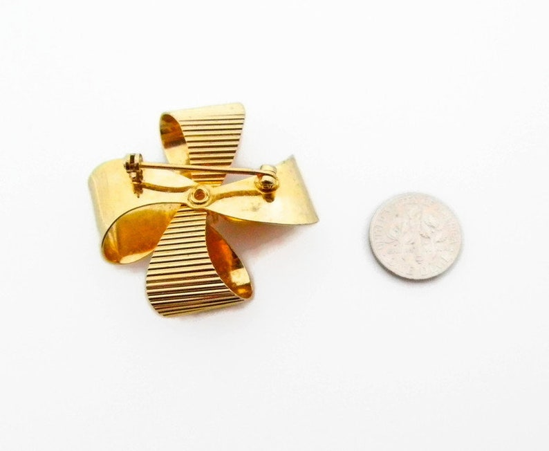 Swoboda Ribbon Brooch Gold Tone Genuine Pearl Swoboda Vintage Collection Gifts for Her Designer Estate Jewelry # 4920