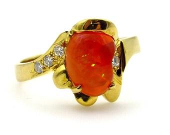 14K Yellow Gold Mexican Fire Opal Diamonds Ring - Size 7.5 - Free Form Orange Gemstone - Estate Jewelry # 5216