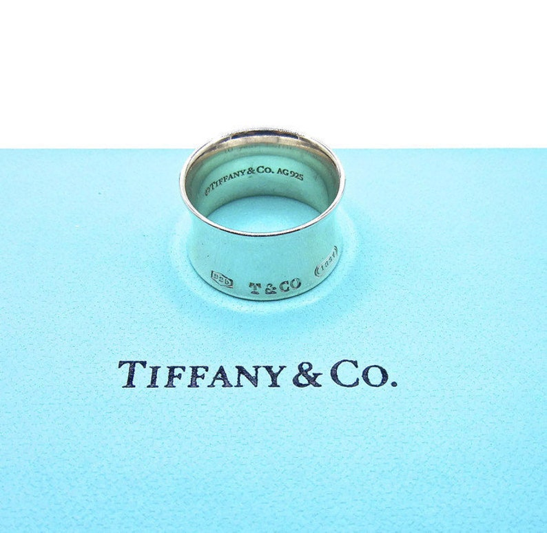 17d3887e0a4b6 Authentic Tiffany Co 1837 Ring - Sterling Silver Concave Wide 1837  Collection Band - Size 7 - Retired Tiffany - Gifts for Her # 4705