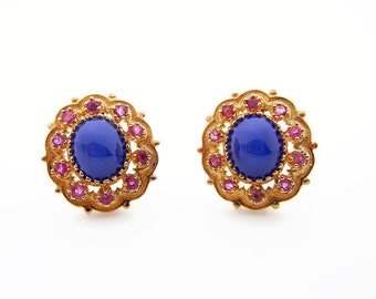 14K Yellow Gold Star Sapphire and Ruby Earrings - Blue Cabochon Star Sapphire and Red Rubies - Clip on Post Back - Cluster Earrings # 4841