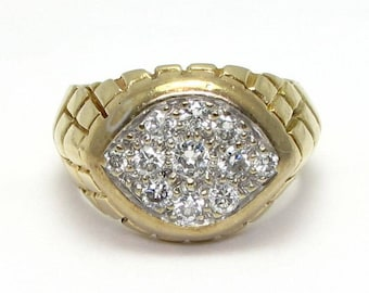 Vintage Diamond Ring - 14k Yellow Gold Large Diamond Ring - Size 9 - Weight 14.6 Grams - Color H, I - Unisex - Man - Cocktail Ring # 1301