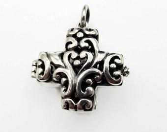 Sterling Silver Cross Prayer Box Pendant - 35 mm 3D Wish Box - 12 grams - 925 Silver - 3D Memory Cross Locket - Mechanical Hinged Box # 5324
