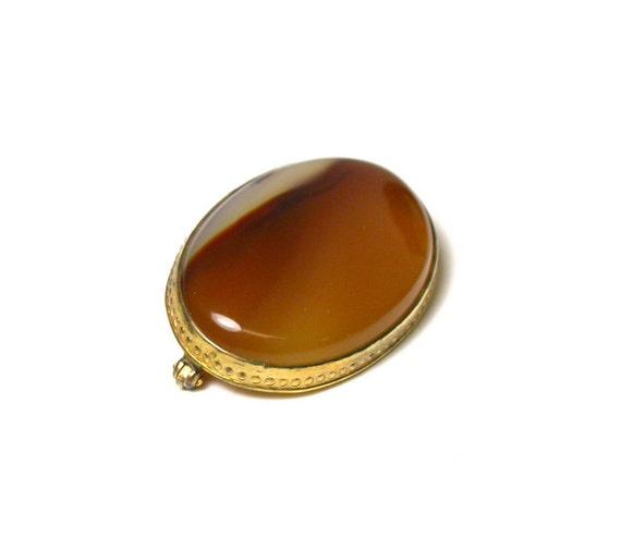 Gold Filled Faux Glass Carnelian Bar BroochPin