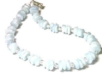 Vintage Aquamarine Necklace with Sterling Silver Clasp - 17 Inches Long - March Birthstone # 1185