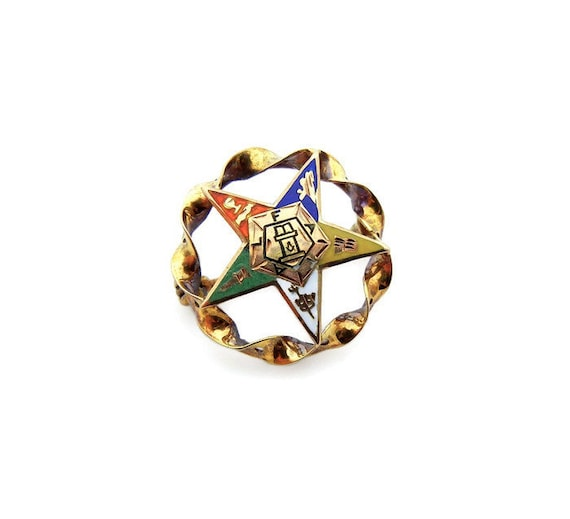 """/""""EASTERN STAR/"""" LAPEL HAT PIN BRAND NEW ENAMELED LARGE CUT-OUT"""