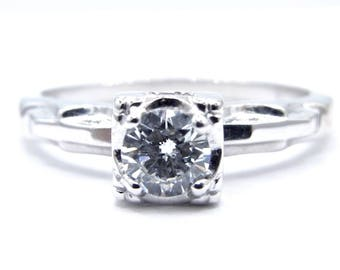 Vintage Wedding Ring - 14k White Gold Solitaire Round Diamond Ring - Size 6 - Color H  I - Engagement - Wedding Ring - Promise # 1910