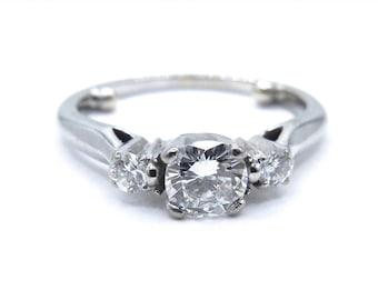 Vintage Diamond Ring - 14K White Gold  3 Stone Diamond Engagement Ring - Size 2.5 - Color I - J - Clarity VS1 - Wedding # 4048