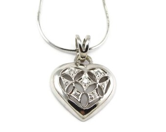 Diamond Heart Necklace - Heart and Diamond Pendant  - Solid 14K White Gold both Pendant and Chain - Diamond Heart - Sweetheart # 4248