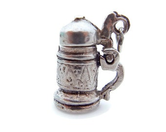 Beer Stein Charm in Sterling Silver Three-Dimensional - Moving 3D Small Pendant - German Mug Lid Opens - Mechanical Charm # 4726
