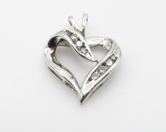 Diamond Heart Pendant - 10K White Gold Diamond Heart Pendant - Weight 2.5 Grams - Sweetheart - Love - Valentines - Gifts for Her Mom # 5303