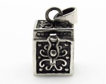 Sterling Silver Prayer Box Pendant - 24 mm 3D Wish Box - Weight 7.1 g - 925 Silver - Memory Square Cube Locket - Mechanical Hinged # 5321