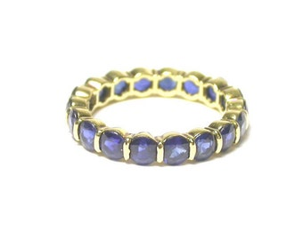 Sapphire Band - 18K Yellow Gold Blue Sapphire Eternity Band - Size 6 - Vintage Estate Jewelry -  Something Blue - Price Reduced  # 1484
