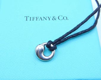 Authentic Tiffany & Co Elsa Peretti Eternal Circle Pendant - Sterling Silver Continuous Circle Charm With Black Cord - Designer # 4481