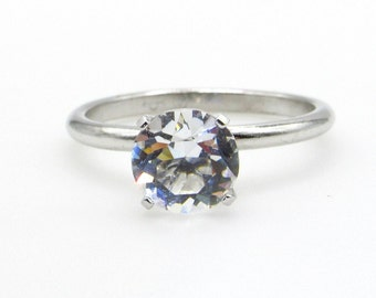 CZ Engagement Ring - Vermeil with Round Cubic Zirconia Ring - Size 7 - Wedding Ring - Promise - Vintage Wedding - Gifts for Her # 5304