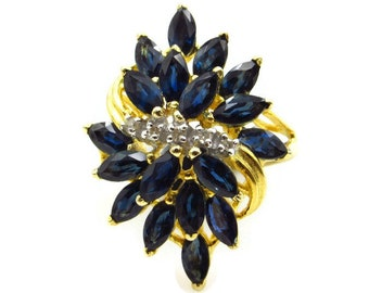 14K Yellow Gold Natural Blue Sapphire and Diamond Cocktail Ring - Size 7.25 - Marquise and Round Shape - September April Birthstone # 5301