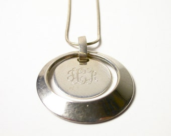 Sterling Silver Round Pendant Necklace - Weight 11.6 Grams - Initials JCR Engraved - 18 Inch Chain # 398