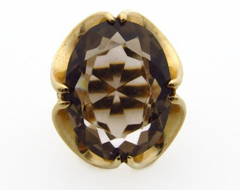 10K Yellow Gold Oval Smokey Quartz Ring -  Size 3.75 - Large Gem 13 ct - Pinky Ring - Gifts for Her - One of a Kind - Heavy 11.6g # 5300