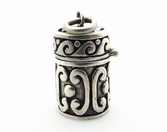 Sterling Silver Prayer Box Pendant - 35 mm Wish Box - Weight 12 g - 925 Silver - Memory Cylinder Locket Box - Mechanical Hinged Box # 5325