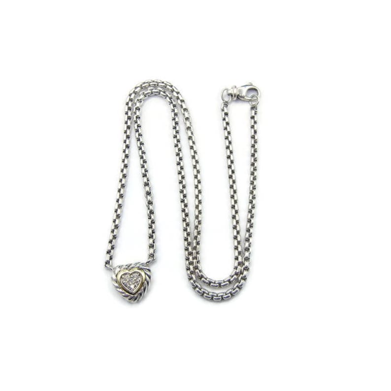 fbfbb0bf28049 David Yurman Diamond Heart Cookie Necklace with Pouch