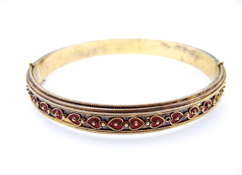 17bd4c3e685b7 Vintage Heart Bracelet - Vermeil and Red Enamel Cuff - Gold Wash over  Sterling Red Enameled Hearts - Sterling Silver Cuff - Sweetheart # 637