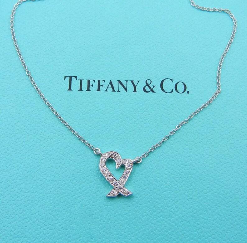 db81a078d Authentic Tiffany & Co Paloma Picasso Platinum Diamond Heart | Etsy