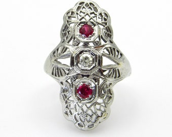 Art Deco Shield Ring 14K White Gold Diamond Ruby Filigree Ring - Size 3.25 - Pinky Ring - Edwardian Era Ring - July Birthstone # 5302