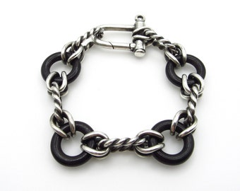 """Authentic Gucci Sterling Silver and Black Ebony Link Bracelet - 9.5"""" or 23.5 cm - Vintage Retired GUCCI - Gifts for Him Her - Unisex # 5134"""