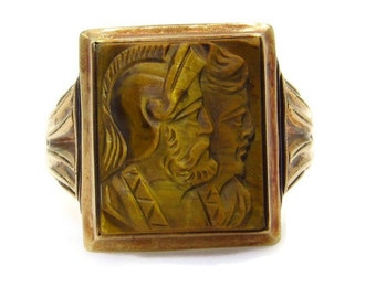 Antique Victorian 10K Yellow Gold Tiger Eye Cameo Ring - Size 7.25 - Double Cameo Carved Roman Soldier Warrior Trojan Ring - Unisex # 5298