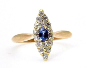 Victorian 14K Yellow Gold Diamonds Blue Sapphire Ring - Antique Cushion Sapphire and 0.25 ct tw Old European Diamonds - Size 3.75 # 5024