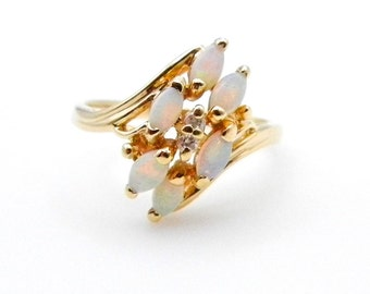 14k Yellow Gold Opal Diamond Ring - Size 6 1/4 - Marquise Opals - October April Birthstones - Cocktail Ring - Estate Jewelry # 4917