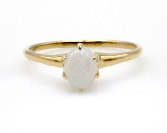 14K Yellow Rosy Gold Opal Ring - Size 5.25 - 0.30 ct Oval Opal Gemstone - Prong Set - Gifts for Her - October Birthstone # 5015