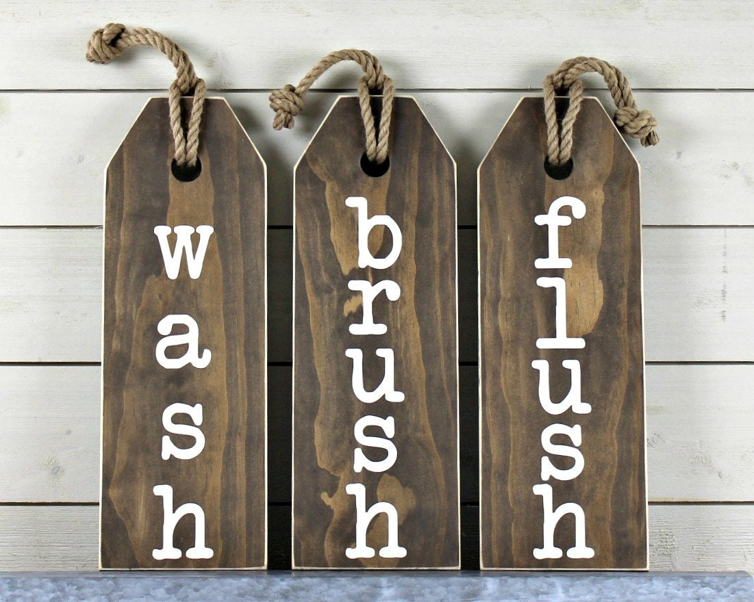 Rustic Bathroom Wall Decor Flush Floss Wash Soak Relax