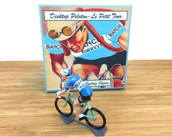 Gift for Cyclist Coppi Tour De France - Bianchi 1955 - Hand Crafted Metal Rouleur Cyclist Figure With Gift Box