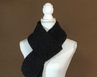 Seed Stitch Knit Scarf, Chunky Textured Knit Scarf - The Lassen - Charcoal