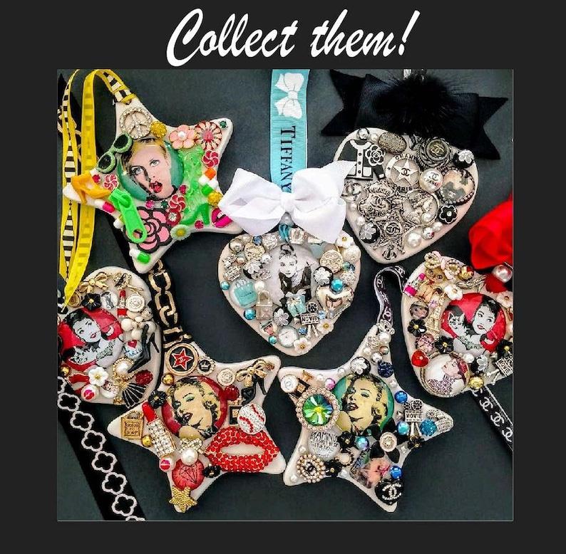 Frida Kahlo theme fancy trinket and treasure Christmas or everyday ornament,