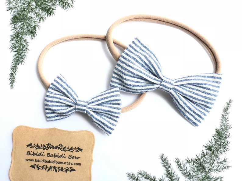 c0b2103244be3 Headbands- Nylon Headbands- Hair Bows-Lt Indigo Blue Stripes Chambray Bows-  Baby Girls Headbands- Big sister Little sister Hair Bows