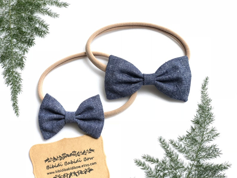 f630a086b9192 Headband- Nylon Headbands- Hair Bows- Indigo Blue Chambray Hair Bows  -Classic bows-Baby Girls Headbands- Big sister Little sister Hair Bows