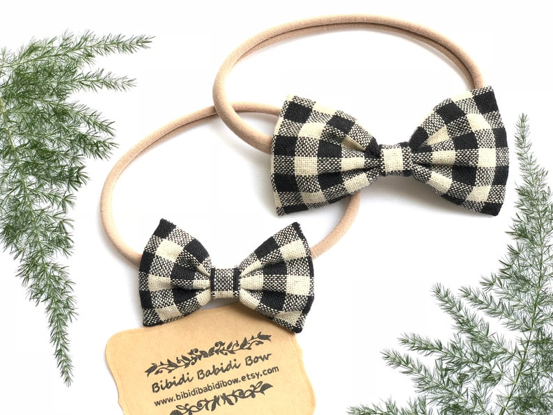 73d4bf37bdb07 Headband- Nylon Headbands- Fabric Hair Bow-Classic Hair Bow- Black Plaid  Bow-Baby Girls Headbands- Big sister Little sister Hair Bows