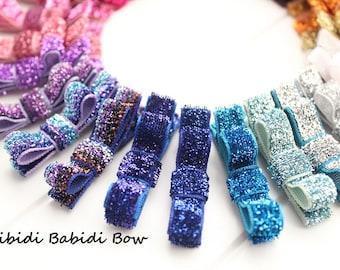 Glitter Hair Bow- baby girl hair bow- Mini Hair Bow- Birthday gift - 1.00 hair bow -infant hair bow -You can choose colors