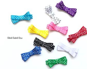 Polka Dot Mini bow- Infant Hair Bow- hair clip- Birthday gift- Stocking Stuffer- Baby hair bow- Toddler Hair Bow- You can choose colors