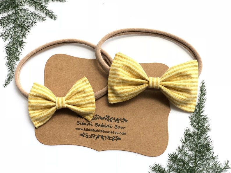 5521f5e046623 Headband- Nylon Headband-Hair Bows-Mustard Yellow Stripes bow-Classic Hair  Bow -Newborn Headband- Big sister Little sister Hair Bows
