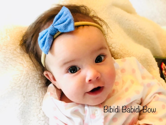 329ecf0b81e17 Headband-Nylon Headbands- Hair Bows- Lt Indigo Chambray Hair Bows -Classic  bows-Baby Girls Headbands- Big sister Little sister Hair Bows