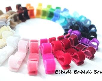 Velvet Hair Bow- Baby Girl Hair Bow- Mini Hair Clip- Mini Hair Bow- Birthday gift- infant hair bow- You can choose colors