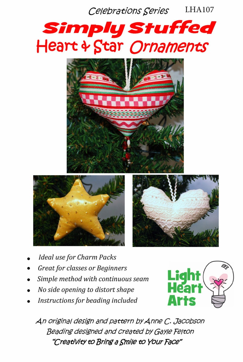 Easy Sewing Pattern  Simply Stuffed Heart and Star image 0
