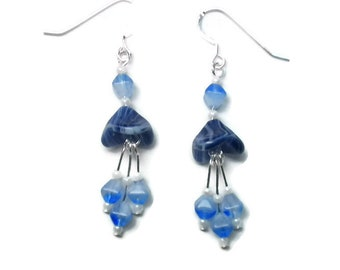 Flower Bell Earrings in Blue and White with Pearl Accents