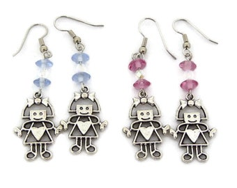 Silver Girl Charm Earrings with choice of pink or blue beads