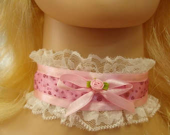 Any Size Sissy Choker Glittery Pink Satin White Lace CD DDLG Kitten Lolita Victorian Plus
