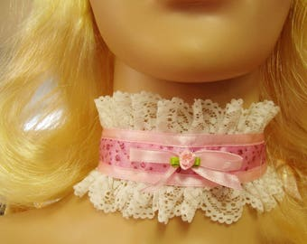 Any Size Sissy Choker Glittery Pink Satin White Swiss Lace CD DDLG Kitten Plus Victorian Romantic Cosplay Kawaii